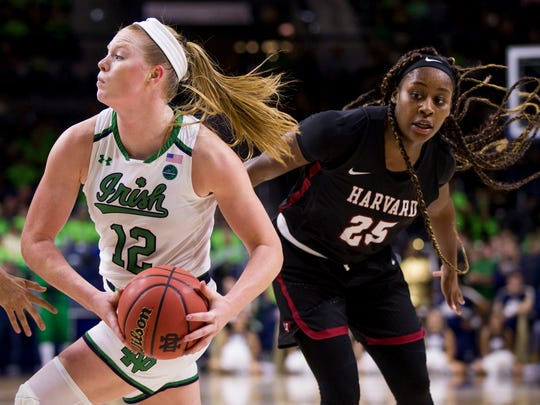 Notre Dame's Abby Prohaska (12) drives by Harvard's Sydney Skinner (25) during the second half of an NCAA college basketball game, Friday, Nov. 9, 2018, in South Bend, Ind. Notre Dame won 103-58. (AP Photo/Robert Franklin)