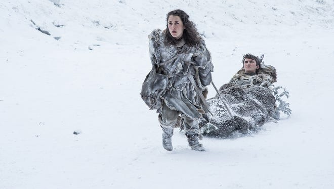 Brrr! Um, we mean Bran (Isaac Hempstead Wright), right, as the Three-Eyed Raven, Meera (Ellie Kendrick) and other 'Game of Thrones' characters bring fictional winter to summer TV.
