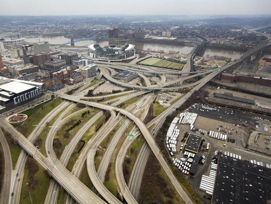 An overhead look at Interstate 75 in Downtown, leading