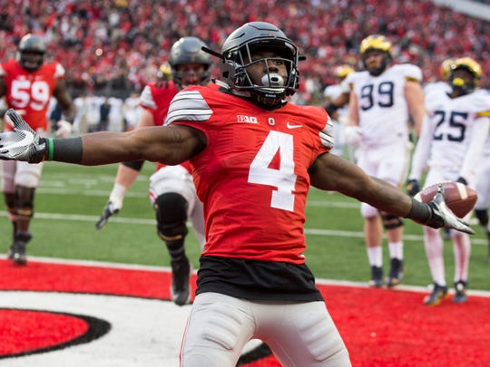 Ohio State running back Curtis Samuel (4), who scored the Buckeyes' game-winning touchdown in their regular-season finale against Michigan, will be a player to keep an eye on in the Fiesta Bowl.