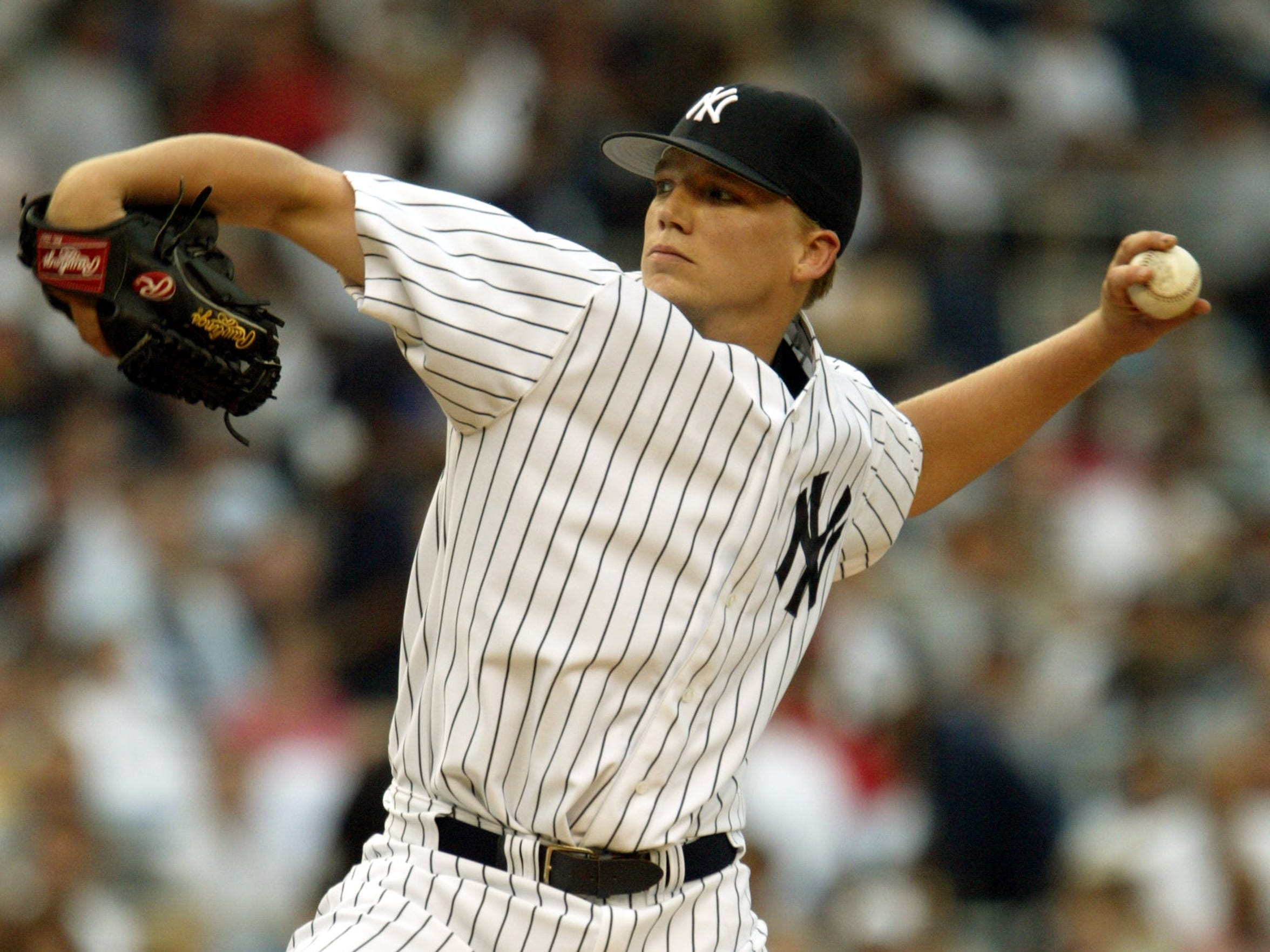 "Brad Halsey pitches against the Boston Red Sox on July 1, 2004. Later in the game, Derek Jeter would make ""The Dive."""
