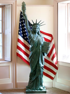 Eight-foot Statue of Liberty replica at the Historic Le Roy House. Between 1949 and 1952, approximately two hundred replicas of the statue made of stamped copper were purchased by Boy Scout troops. Le Roy has raised money to save its replica.