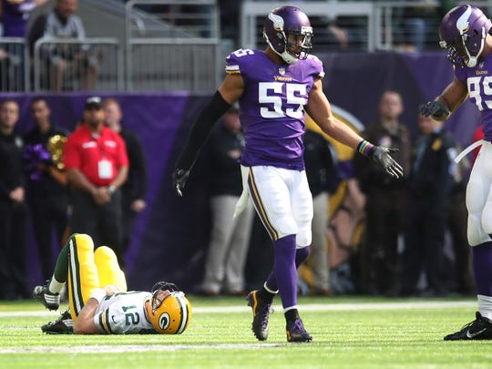 Packers quarterback Aaron Rodgers broke his right collarbone after a hit from Vikings linebacker Anthony Barr on Oct. 15, 2017, at U.S. Bank Stadium in Minneapolis, Minn.