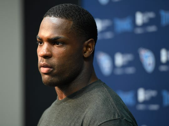 Titans running back DeMarco Murray addresses the media at St. Thomas Sports Park before the start of training camp Friday, July 28, 2017, in Nashville, Tenn.