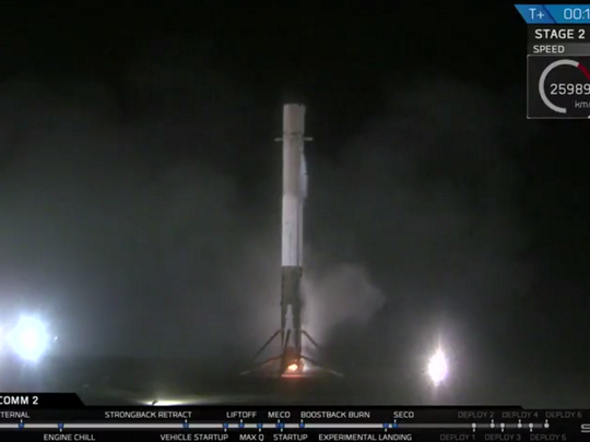 Screenshot shows a SpaceX Falcon 9 booster landing