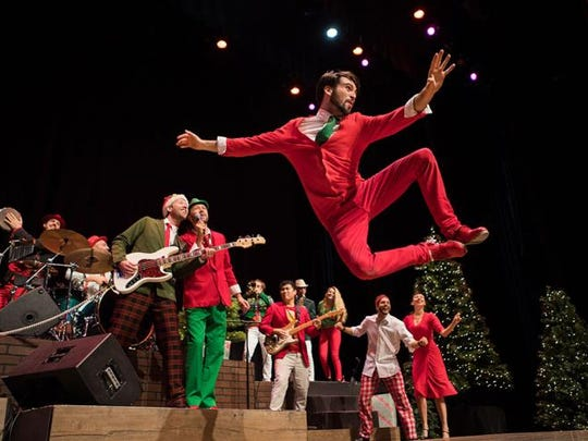Rhythmic Circus performs a holiday-themed percussive dance performance.