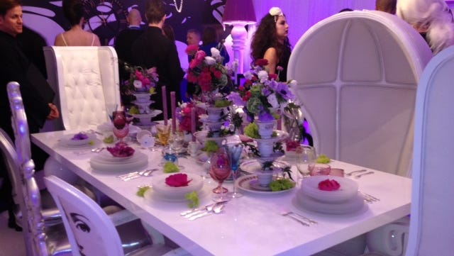 A table setup for Wonderland, a new restaurant on Royal Caribbean's Quantum of the Seas.