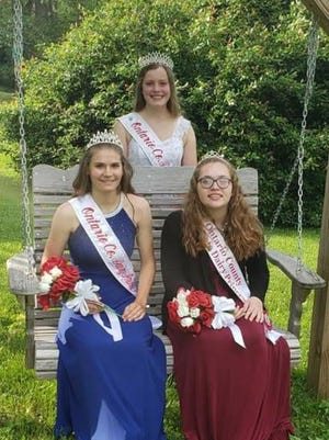 Cara Walker is crowned the 2020-21 Ontario Dairy Princess. Pictured on the front row, from left, are Walker and 2020-21 Alternate Dairy Princess Holly Fellows. Back row: 2019-20 Ontario County Dairy Princess Molly Mueller.