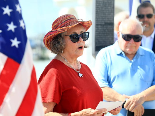 Robin Borglum Kennedy talks about her grandfather Gutzon Borglum during a dedication for a Texas Historical Marker honoring him Thursday, July 6, 2017, in Corpus Christi.
