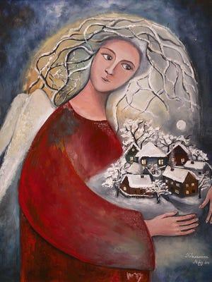 'Winter angel' is a painting by Mariya Kobylynska, who grew up near Chernobyl.