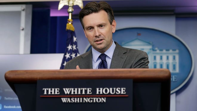 White House press secretary Josh Earnest speaks during the daily news briefing at the White House in Washington, Thursday, Sept. 15, 2016. Earnest discussed Syria and other topics.