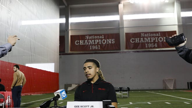 Ohio State wide receiver Gee Scott Jr. answers questions during the football signing day news conference in February in the Woody Hayes Athletic Center. Scott, like all Buckeyes players, is unable to get visits from his family during the pandemic.