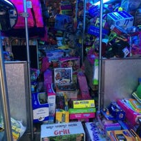 """A bus filled with toys as part of """"Stuff-a-Bus 2014."""""""
