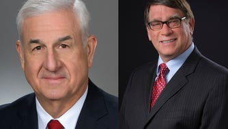 State Rep. Lou Terhar (left) and Sen. Bill Seitz are running for one another's seats this fall.