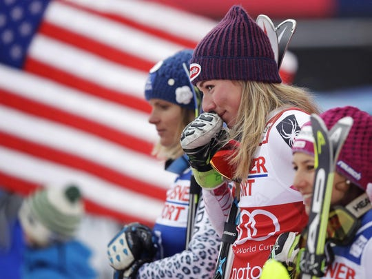 Mikaela Shiffrin of the United States holds her glove