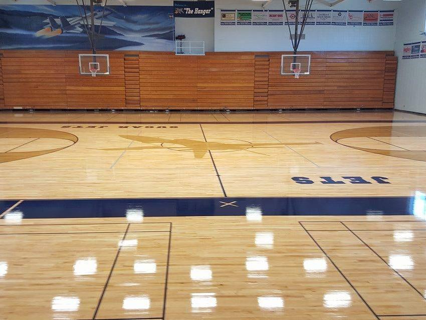 Local company installs new enka gym floor usa today high for Local hardwood flooring companies