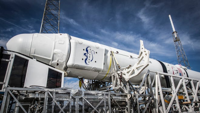 A SpaceX Falcon 9 rocket and Dragon capsule before being lifted into launch position earlier this week at Cape Canaveral Air Force Station's Launch Complex 40.