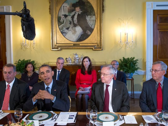 Boehner, Obama, Reid and McConnell meet at the White