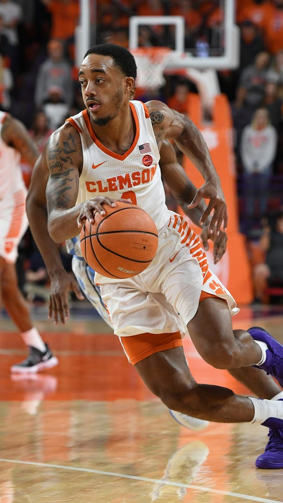 Clemson guard Marcquise Reed (2) plays against North Carolina during the 2nd half on Tuesday, January 30,  2018, at Clemson's Littlejohn Coliseum.