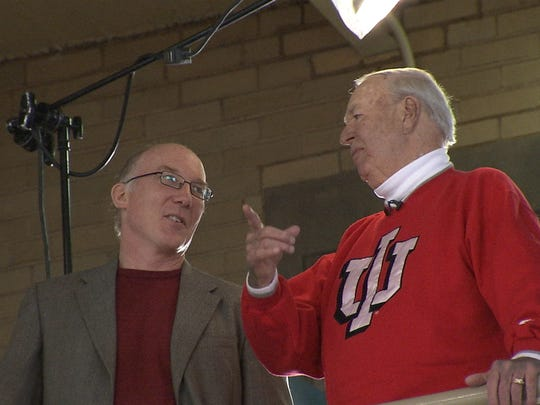 Ted Green, here with Slick Leonard on the IU campus, spent 16 months researching and filming the documentary. Included in the film are interviews with Larry Bird, Reggie Miller, Jerry West and Elgin Baylor.