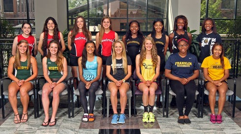 Back row, left to right: Hannah Fay (Hunterdon Central), Nadia Saponara (Hunterdon Central), Jackie Bernardo (Hunterdon Central), Tina LaRitz (Hunterdon Central); Nia Dupiche (Piscataway), Camisha Pierson (Piscataway), Brionna Pettus (Piscataway), Chanel Smith (Piscataway) Front row, left to right: Morgan Harvey (North Hunterdon), Amy Suttmeier (North Hunterdon), Sydney McLaughlin (Union Catholic), Dana Klein (Gill St. Bernard's), Sara Gardner (Delaware Valley), Ashley Berry (Franklin), Selena Thorne (Franklin)