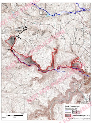 This map shows land acquired for the Soak Creek Section of the Cumberland Trail.