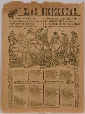 Las Bicicletas (The Bicycles) by Jose Guadalupe Posada, 1913. Zinc plate etching on newsprint.