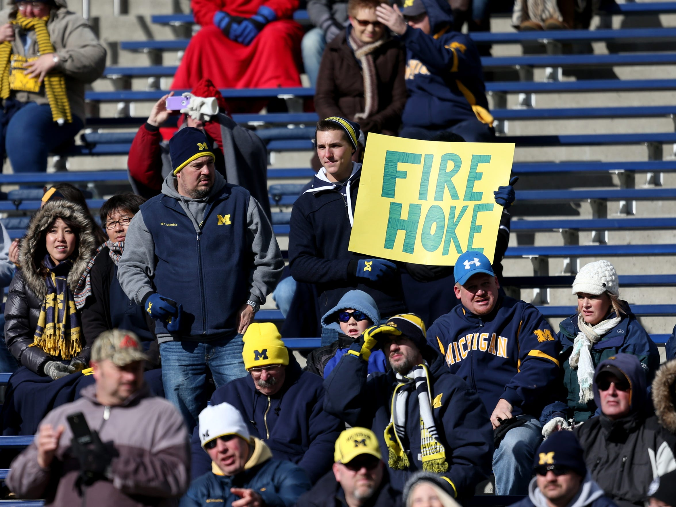 Michigan fans voice their displeasure with Brady Hoke before action against Indiana on November 1, 2014 at Michigan Stadium.