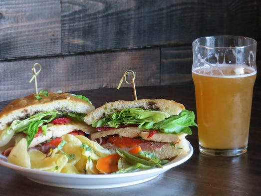 sandwich made with roasted chicken and prosciutto and a wheat beer ...