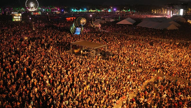 INDIO, CA - APRIL 17:  A view of the crowd during the Alabama Shakes performance on day 1 of the 2015 Coachella Valley Music And Arts Festival (Weekend 2) at The Empire Polo Club on April 17, 2015 in Indio, California.  (Photo by Karl Walter/Getty Images for Coachella)