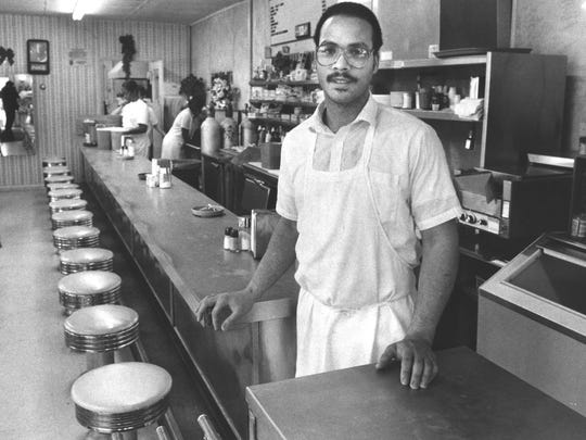 Derrick Smith of Irma's Cafe on 26th Street, in Louisville. By Arza Barnett, The Courier-Journal. Dec. 13, 1998