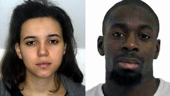 """Hayat Boumeddiene, left, and Amedy Coulibaly were two of the planners of the """"Charlie Hebdo"""" attacks last January."""