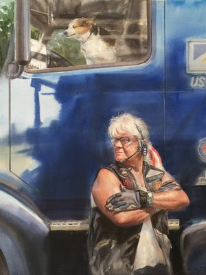 """The painting """"Long Haul"""" shows Sondra Eiche, 70, of Lima, a retired truck driver who served in the Marines. She is the subject of one of the paintings in """"We The People: Portraits of Veterans in America,"""" an exhibition at the National Veterans Memorial and Museum that will run from Sept. 18 to March 14."""