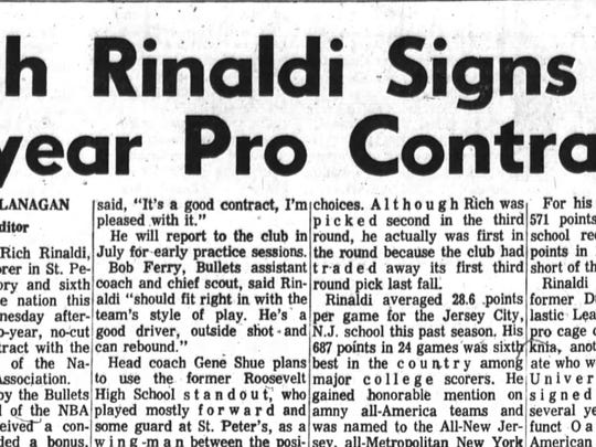 A clipping of the Poughkeepsie Journal article from May 1971 when Rich Rinaldi signed his NBA contract.