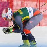 Reno's Tim Jitloff competes during the Audi FIS Alpine Ski World Cup men's giant slalom on Oct. 27, 2013 in Soelden, Austria.
