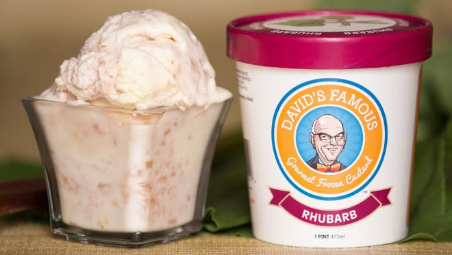 A photo of David's Famous Gourmet Rhubarb Frozen Custard, by Lindsey Sears of Iowa Photo Co., on May 23, 2016.