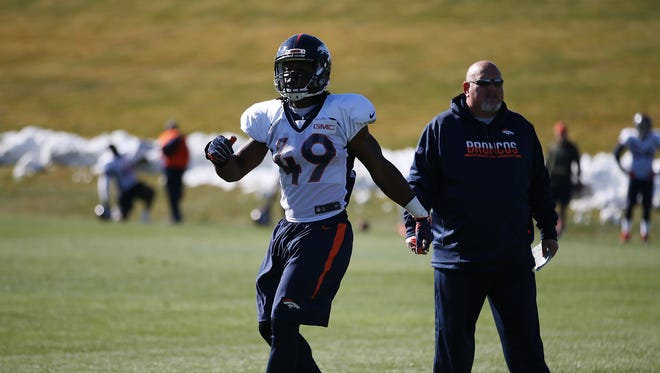 Quentin Gause was signed by the Broncos on Oct. 17. He's shown here practicing at the UC Health Training Facility in Centennial, Colorado.