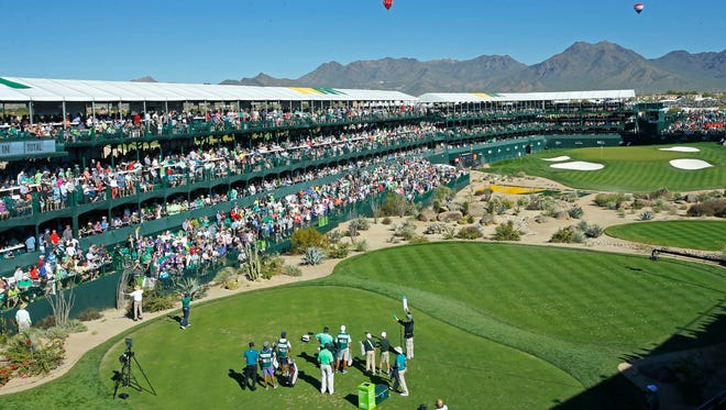Hot air balloons float near the 16th hole during the third round of the Waste Management Phoenix Open Saturday,, Feb. 4, 2017 in Scottsdale,  Ariz.