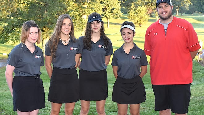 Members of the 2020 Sandy Valley girls golf team are (left to right) Victoria Madison, Hannah DeFord, Sarah DeFord, Marissa Moriconi and Head Coach Nate Provance.