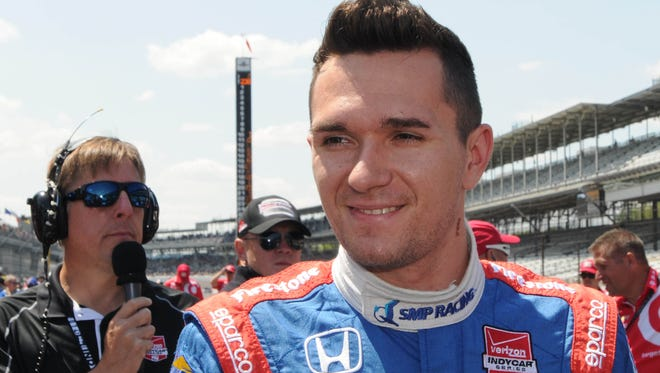 Mikhail Aleshin during  qualifying for the Indianapolis 500 mile race  Sunday,  May 18,  2014  at The Indianapolis Motor Speedway.