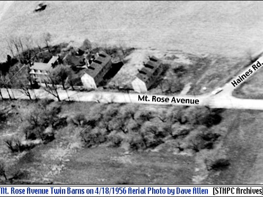 Twin Barns located on the Northwest Corner of Haines Road and Mt. Rose Avenue in Springettsbury Township, York County, PA (April 18, 1956 Aerial Photo by Dave Allen; from Collections of the Springettsbury Township Historic Preservation Committee Archives)