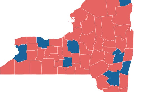The New York Election Map for president in 2016 shows how Hillary Clinton was able to easily win just picking up 16 counties; the ones in blue.