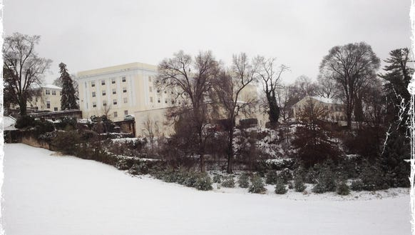 A snowy hill at Mary Baldwin College, which is a great