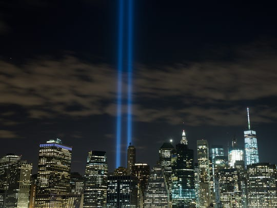 The 'Tribute in Light' rises from the Lower Manhattan skyline on Sept. 7, 2016.