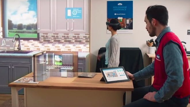 Customers in a select number of Lowe's stores can use Microsoft's HoloLens device to create their kitchen in augmented reality.