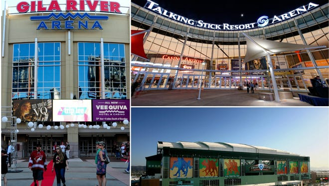 Gila River Arena, home of the Coyotes; Talking Stick Resort Arena, home of the Suns; Chase Field, home of the Diamondbacks.