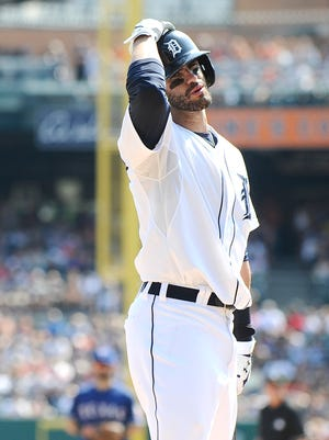 J.D. Martinez can't believe he got called out on strikes to end the seventh inning.