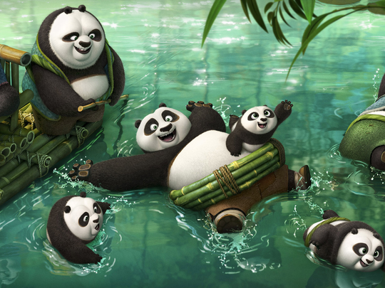 Po (Jack Black) enlists the help of a panda village
