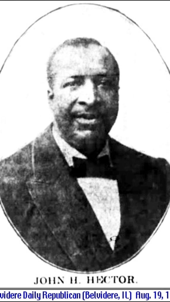 John H. Hector photo in Belvidere Daily Republican (Belvidere, Illinois; August 19, 1908, page 4)