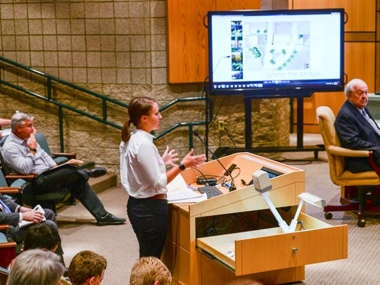 Mary Haley Thompson, Anderson project manager, talks about the Under the Bridge project to the Anderson City Council during the meeting at City Hall on Monday.